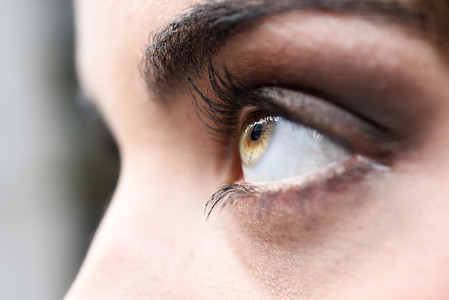 Close up of woman eye with long eyelashes