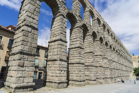 View of the famous Aqueduct of Segovia