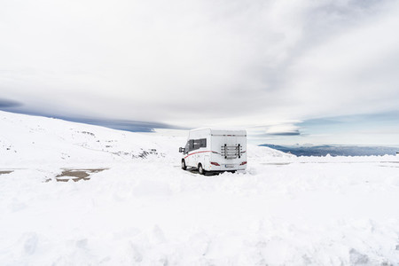 Motorhome at ski resort of Sierra Nevada