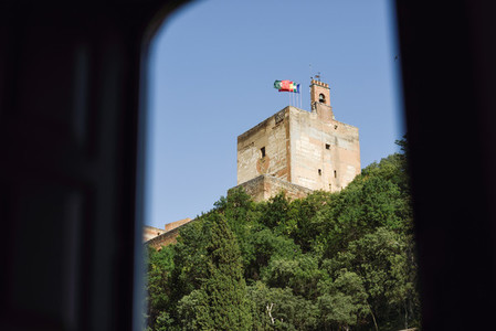 View of the famous Alhambra palace in Granada from Albaicin quar