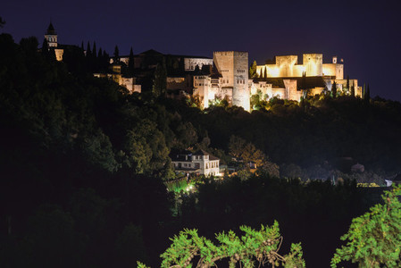 Night view of the famous Alhambra palace in Granada from Sacromo
