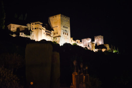 Night view of the famous Alhambra palace in Granada from Albaici