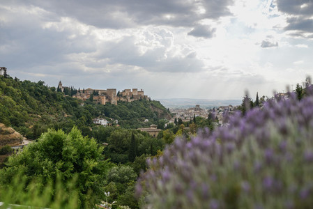 View of the famous Alhambra palace in Granada from Sacromonte qu
