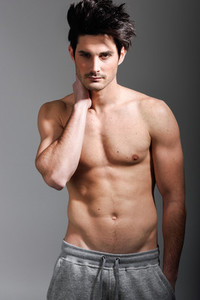 Half naked sexy body of muscular athletic man