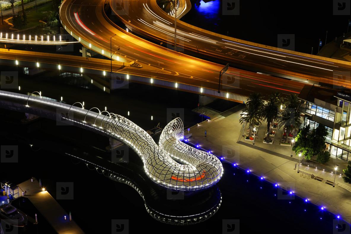 Night Webb Bridge  Docklands