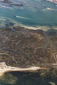 Aerial view algae along coastline Faro Algarve Portugal