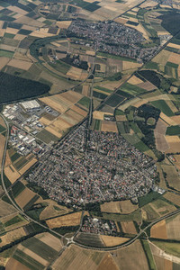 Aerial view city surrounded by rural farmland fields Frankfurt Germany
