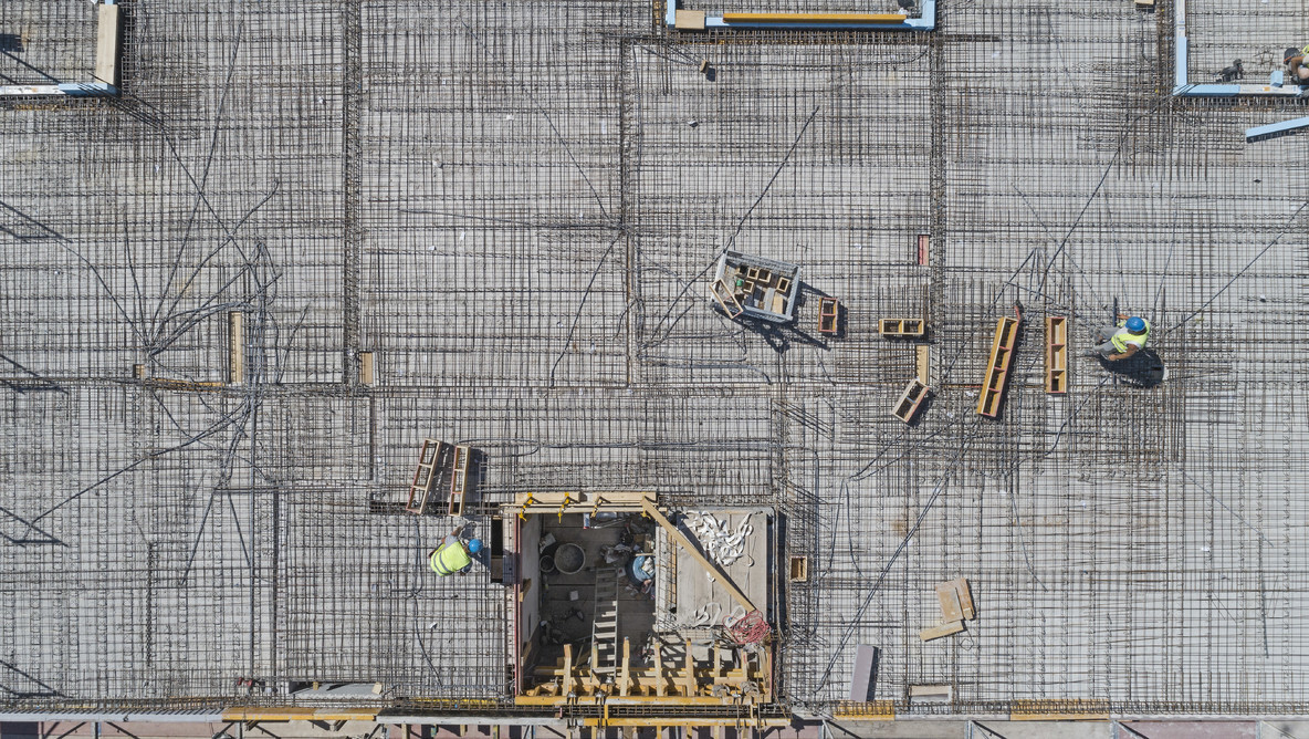 Aerial view from above rooftop construction site