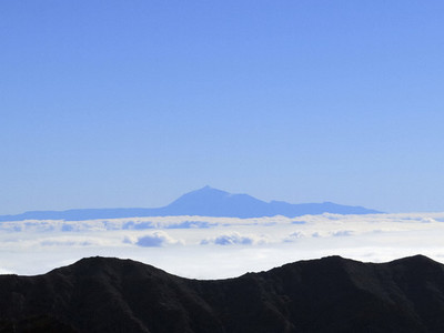 Aerial view mountain against blue sky above clouds  Santa Cruz de La Palma  Spain