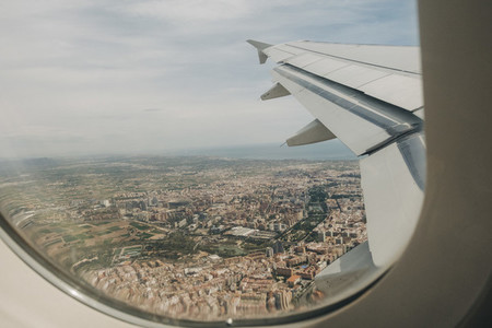 Aerial view of Valencia Spain from airplane window