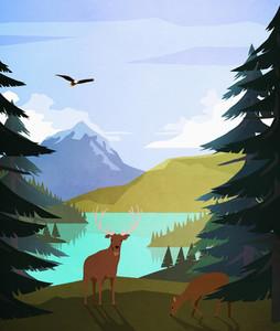 Bald eagle and deer at idyllic remote lakeside