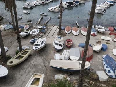 Boats dry docked along marina  Dubrovnik  Croatia