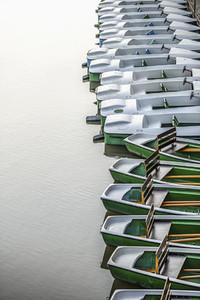 Boats moored in a row  Tuebingen  Baden Wurttemberg  Germany