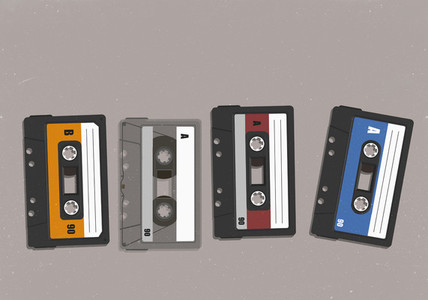 Cassette tapes in a row