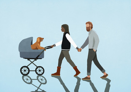 Couple holding hands and walking puppy in stroller