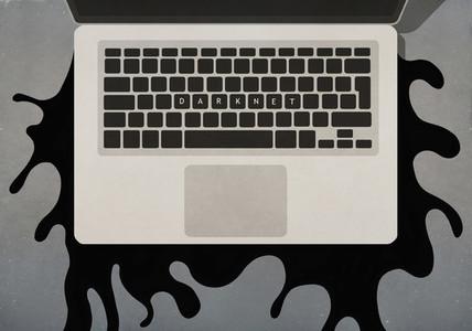 Darknet text on laptop keyboard