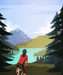 Female mountain biker looking at idyllic  tranquil mountain lake view