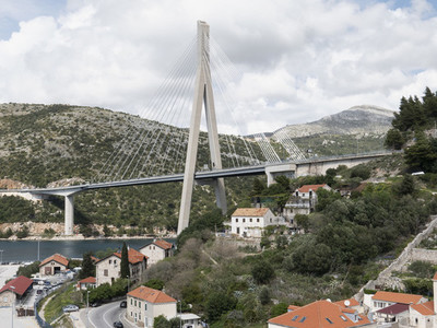 Franjo Tudjman bridge and village houses Dubrovnik Croatia