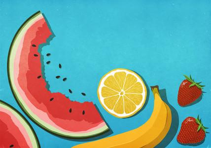 Fresh  juicy fruits on blue background