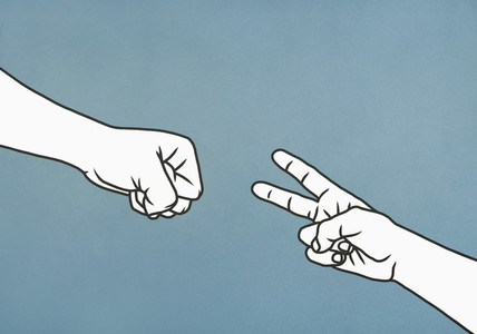 Hands playing rock paper scissors