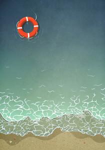 Life ring floating in ocean water