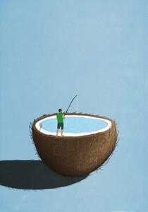 Man fishing inside coconut