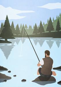 Man fishing on rock in lake