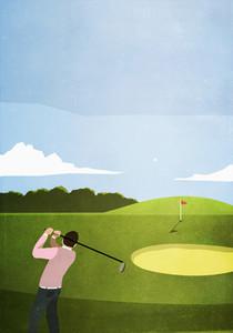 Man golfing on sunny golf course 01