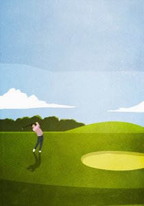 Man golfing on sunny golf course 02