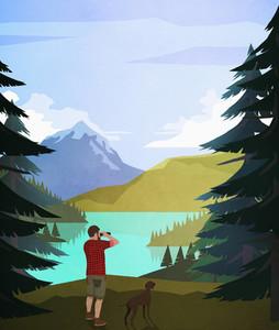 Man with dog using binoculars at scenic lakeside