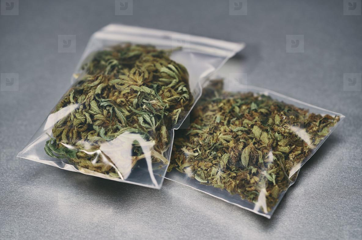 Marijuana in small plastic bags