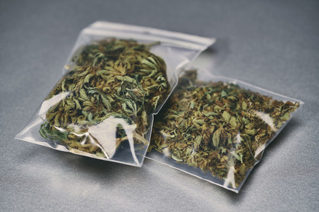 Marijuana in small plastic bags