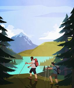 Men hiking along scenic lakeside