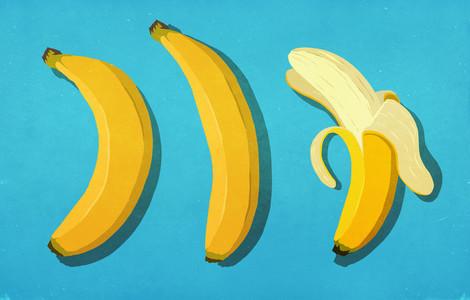 Peeled and unpeeled bananas on blue background