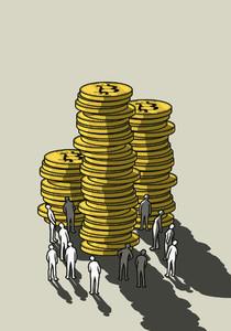 People looking up at tall Bitcoin stacks
