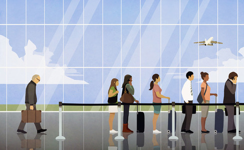 People waiting in queue at airport security 01