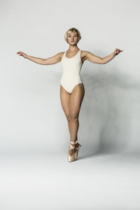 Portrait beautiful graceful ballerina in leotard