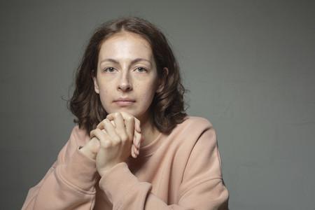 Portrait confident determined woman