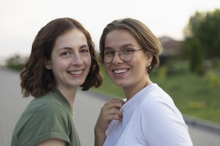 Portrait happy women friends