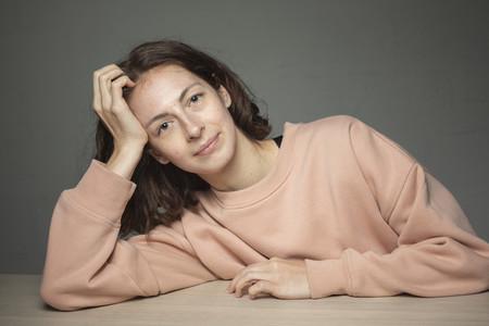 Portrait smiling  confident woman