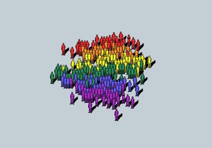 Rainbow colored crowd