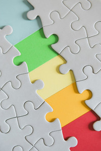 Rainbow missing jigsaw puzzle pieces