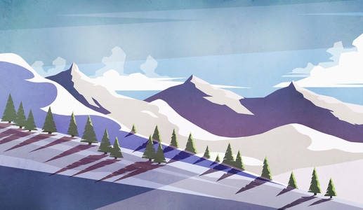Scenic view sunny snowy mountain landscape