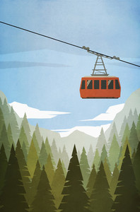 Ski gondola ascending above forest trees