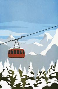 Ski gondola ascending mountain
