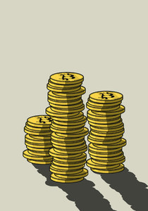 Stacks of Bitcoins