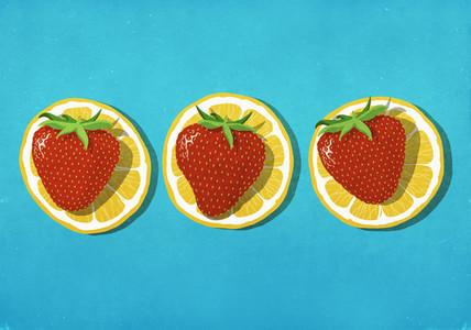 Strawberries on lemon slices