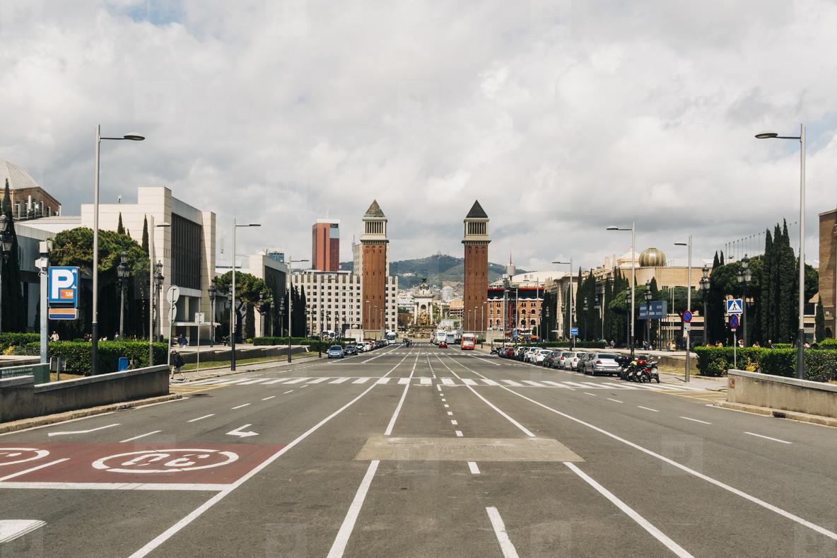 Street view towards Playa d Espanya  Barcelona  Spain