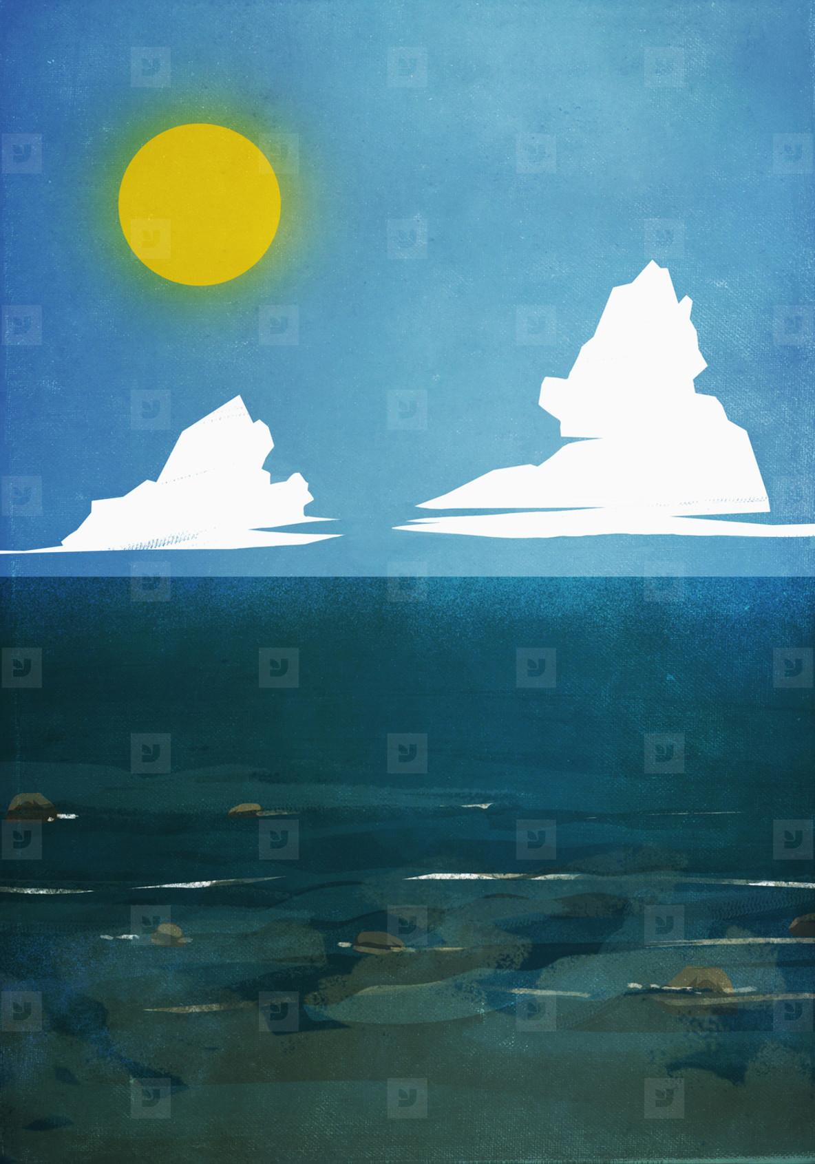Sun shining over blue ocean