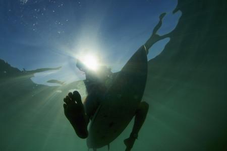 Surfboard under ocean surface 02